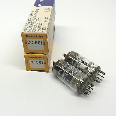 1 x Matched  Pair ECC801S  NOS  Siemens Germany Valve Tubes