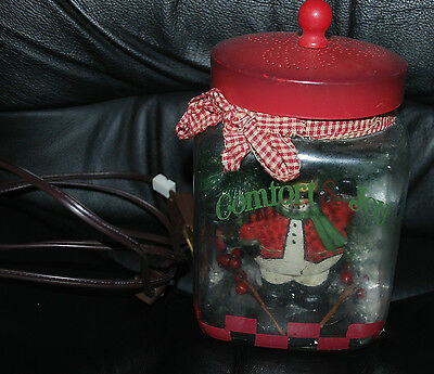 Christmas Holiday Vintage Glass Jar Candle Light Red Lid COMFORT & JOY Snowman
