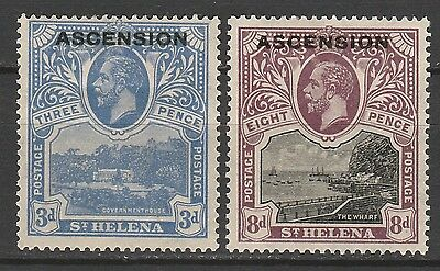 Ascension 1922 Kgv Pictorial Overprint 3D And 8D
