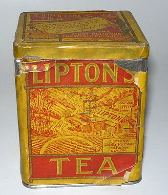 Original 1915 Liptons Tea 1/2 Pound Ceylon & India Tea Can Container Tin