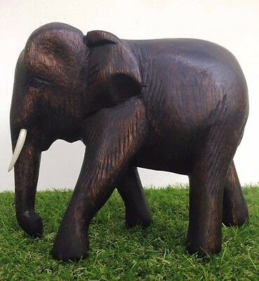 Thai Elephant Wooden Figurine Statue Animal Decor Carved Trunk Home Sculpture