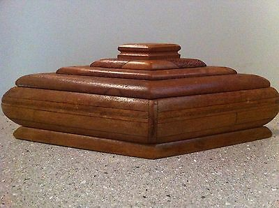 Vintage Art Deco Wooden Timber Box Diamond Shape Trinkets Jewellery