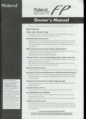 Roland fp3 manual and dust cover nos   #73020137.