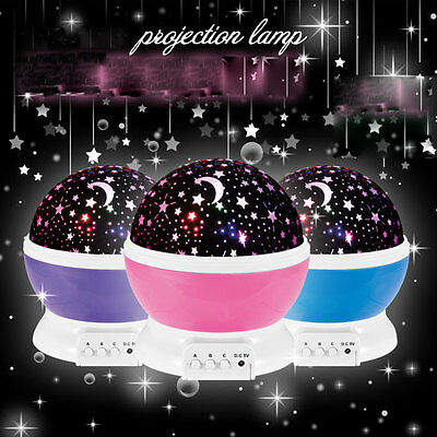 Sky Starry Moon Projector Rotating Night Light Bedroom Decorative Lamp for Kids