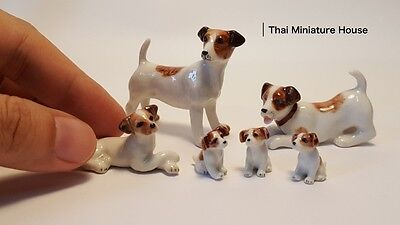 Family Dog Brown Ceramic Jack Russell Terrier Dog Animal Dollhouse Miniature