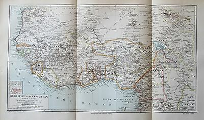 1895 Ober-Guinea West-Sudan historische Landkarte antique map Lithographie