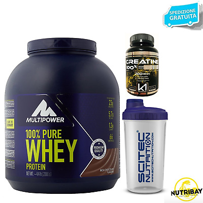 MULTIPOWER 100% Pure Whey Protein 2 kg Proteine Siero + 110 BCAA e SHAKER SCITEC