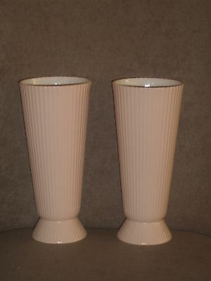 Rare Vintage Pair Lenox Light Pink / Ivory Interior Ribbed Vases Old Blue Mark