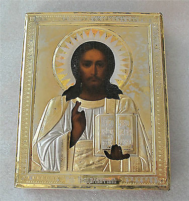 Russian Silver Icon Christ Pantocrator Moscow Gilded Oklad All Original 1899