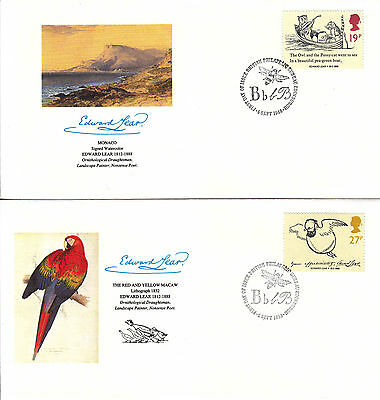 Great Britain Drawings E.Lear FDC Sc#1226/29 5 covers w/Fleetwood cachet- WW7269