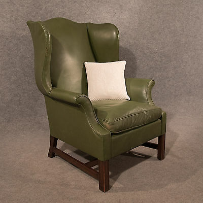 Antique Leather Armchair Large Wing Gentleman's Chair English Victorian c1900