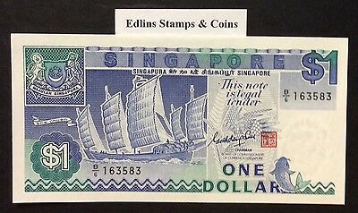 1987 $1 Singapore Banknote - Uncirculated - Pick 18A - B/6 163583