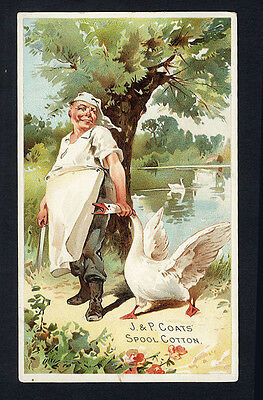 SEWING THREAD Victorian Trade Card 1880s - J P COATS - Cook Grabbing a SWAN