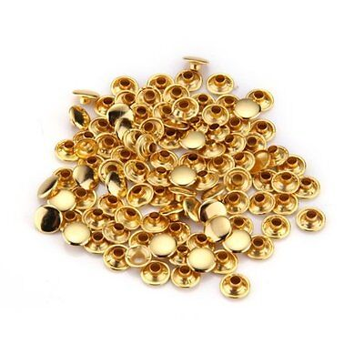 100 Rivets Studs Double-Sided Gold 9 mm AD