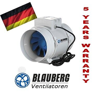 BLAUBERG TURBO 200mm INLINE FAN BATHROOM EXHAUST VENTILATION HYDROPONIC FANS AIR