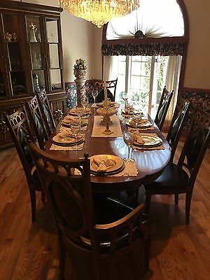 Plunkett Vintage Antique Solid Wood Dining Room Set Table 8 Chairs Hutch