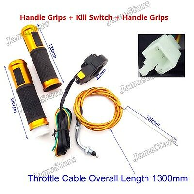 Gas Motorized Bicycle Gold Throttle Cable Twist Handle Grip Kill Switch