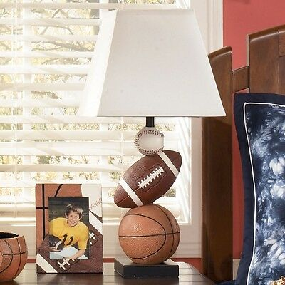 Ashley Signature Design Nyx Sports Table Lamp In Brown Orange And Hardback  Shade