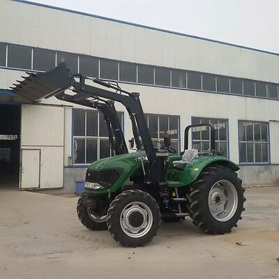 Hot Sell 100 HP 4 Wheel Tractor With Front Bucket Backhoe Loader Ship Worldwide