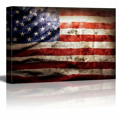 "Canvas Wall Art Prints- Closeup of Grunge American Flag Vintage Retro- 24"" x 36"""