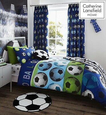 Catherine Lansfield Kids/Boys Blue Single Football Duvet/Cover Bed Set  £13.99