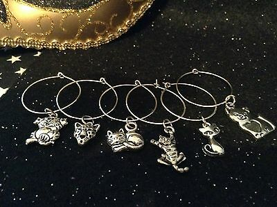 Wine Glass Charm - Set of 6 - Cat Charms