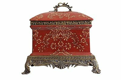 Red Chinoiserie Floral Pattern Porcelain Hexagonal Box Brass Ormolu