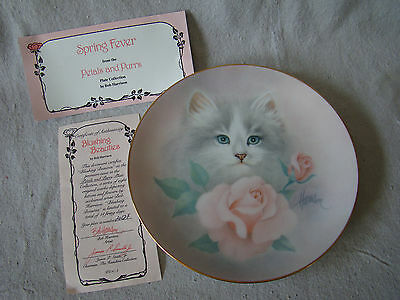 Collector Plate Spring Fever Petals & Purrs Collection White Kitten Rose 201628