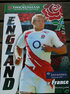 England v France 11th August 2007 Investec Challenge Rugby Programme
