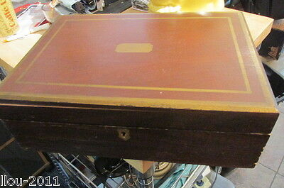 Antique Wooden Writing Desk Box With Letter From Ella Coburn Lowell, Mass W/Key
