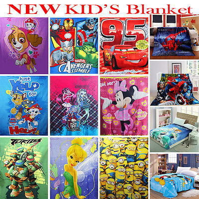 New Kids Blanket Mink And Polar Fleece Boys Girls Winter Disney Frozen Cars