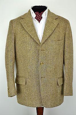 Vintage 3 Button Harris Tweed Jacket size 38 Ex Short Light Brown Herringbone