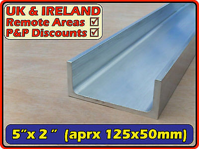 "Aluminium Channel (C U profile,section,ramp) | 5""x2"" (>125mm>50mm) 5x2 
