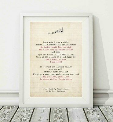 181 Luther Vandross - Dance With My Father - Song Lyric Poster Print - A4 A3