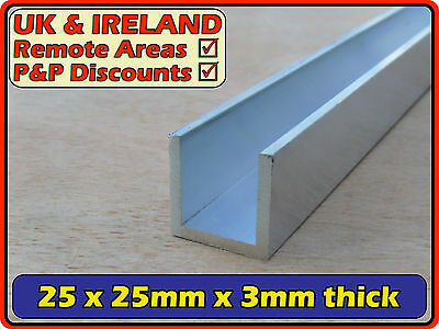 "Aluminium Channel (C U profile, section,gutter) | 25x25mm (<1x1"") 3mm"