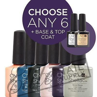 CND SHELLAC UV Color Coat 7.3ml - Any 6 Colours + Base + Top + FREE SolarOil