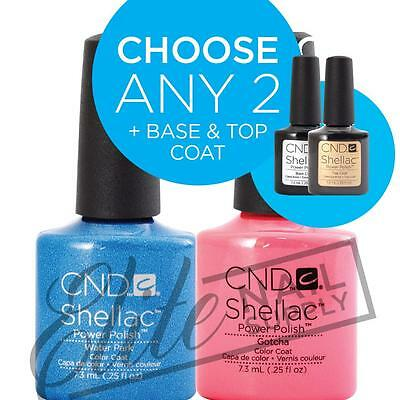 CND SHELLAC UV Color Coat 7.3ml  Any 2 Colours + Base + Top + FREE CND SolarOil