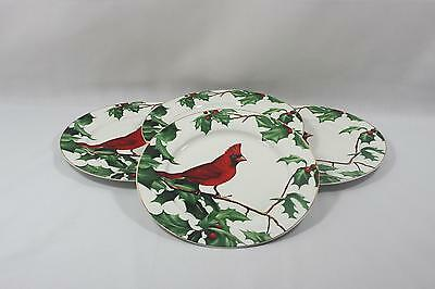 Grace's Teaware Holly & Cardinal Porcelain Round Dinner Plates Set of Four New