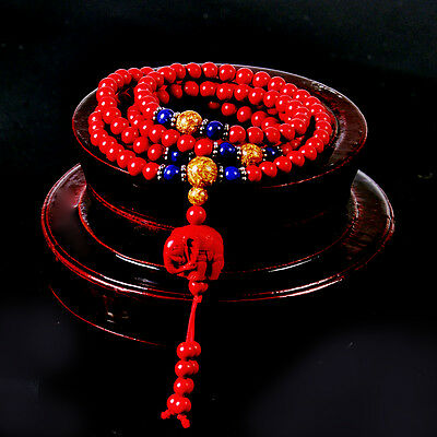 Red Chinese Natural Cinnabar 6mm Bead Necklace Vintage Elephant Pendant Bracelet