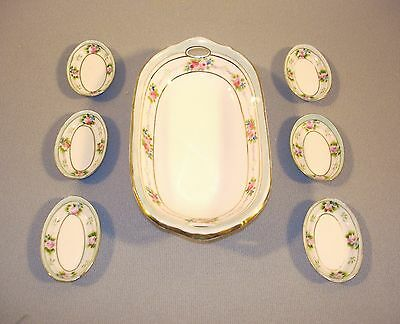 NIPPON Relish Dish and 6 Salt Cellars Hand Painted