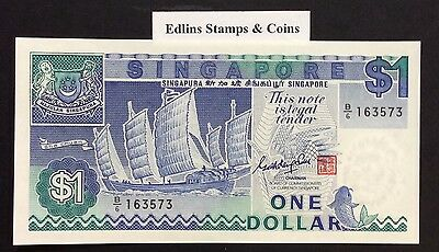 1987 $1 Singapore Banknote - Uncirculated - Pick 18A - B/6 163573