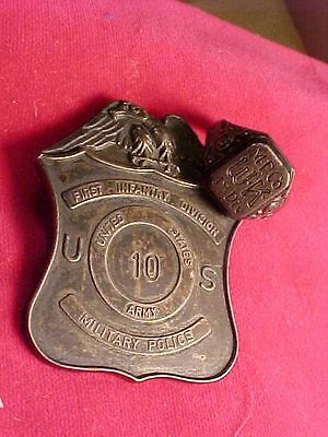 Original Wwii Era Us 1St Infantry Division #ed Mp Badge And Ring