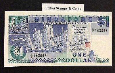 1987 $1 Singapore Banknote - Uncirculated - Pick 18A - B/6 163567
