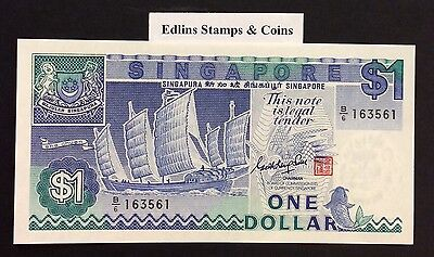 1987 $1 Singapore Banknote - Uncirculated - Pick 18A - B/6 163561