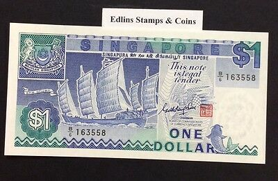 1987 $1 Singapore Banknote - Uncirculated - Pick 18A - B/6 163558