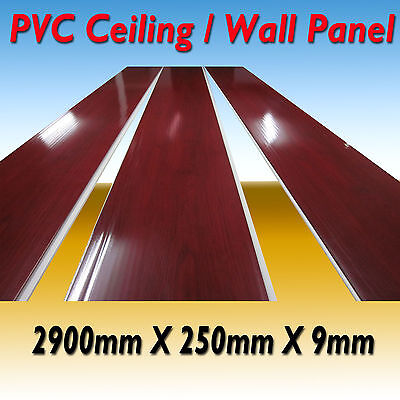 10 X Pvc Wall Panel Shop Fitting / Ceiling Panel  2900 X 250 X 9  Red Wood