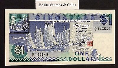 1987 $1 Singapore Banknote - Uncirculated - Pick 18A - B/6 163549