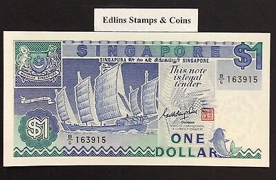 1987 $1 Singapore Banknote - Uncirculated - Pick 18A - B/6 163915