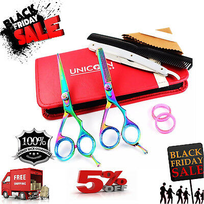 """Professional Barber Hairdressing Scissors Thinning & Hair Cutting Set 6"""" Shears"""