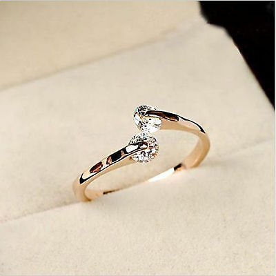 High Elegant women 18K Rose Gold Plated Crystal Engagement Wedding Party Ring